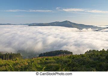 montanhas, sobre, a, nevoeiro