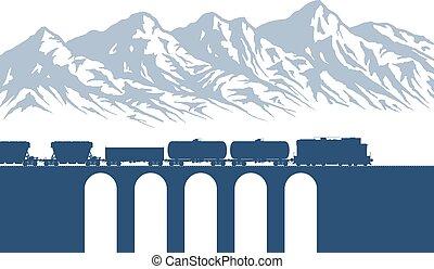 montanhas, sobre, trem, frete
