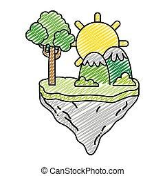 montanhas, sol, flutuador, árvore, ilha, doodle