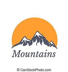 montanhas, sol, ilustração, vetorial, logotipo