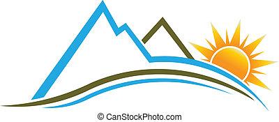 montanhas, sol, image., logotipo