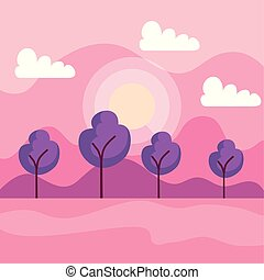 montanhas, sol, nuvens, árvores, natureza