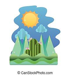 montanhas, sol, nuvens, paisagem, natureza