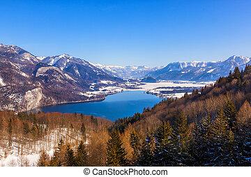 montanhas, st., gilgen, recurso, áustria, esqui