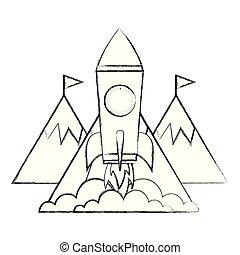 montanhas, sucesso, negócio, topo, foguete, bandeiras