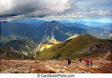 montanhas, tempestuoso, paisagem