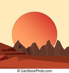 montanhas, terreno, natural, paisagem, sol