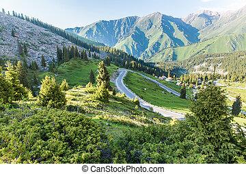 montanhas, tien, natureza, lago grande, kazakhstan, verão,...