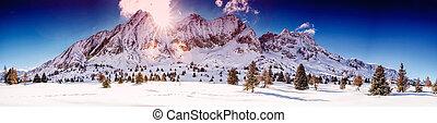 montanhas, tonale, cidade, inverno, sobre, adamello, impressionante, presanella, italiano, europe., amanhecer, alpes