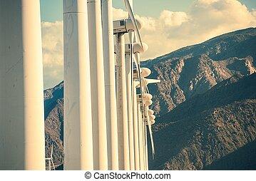montanhas, turbinas, vento