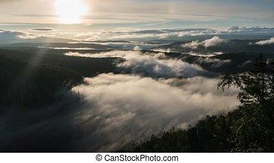 montanhas, ural, cume, amanhecer, karatash