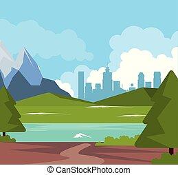 montanhas, vale, natural, coloridos, cidade, fundo, paisagem rio