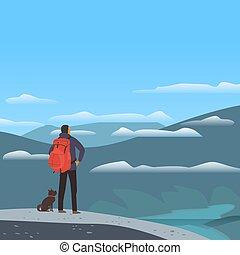 montanhas, vale, paisagem