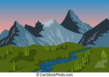 montanhas, vale, paisagem, verão