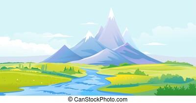 montanhas, vale, rio