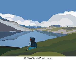 montanhas, vale, verde