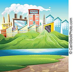 montanhas verdes, perto, a, rio, e, a, edifícios