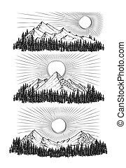 montanhas, vetorial, desenhado, ilustração, mão