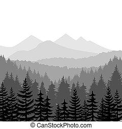montanhas, vetorial, fundos, floresta, pinho