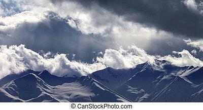 montanhas, vista, noite, nuvens, panorâmico