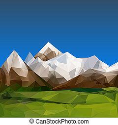montanhoso, terreno, polygonal, fundo
