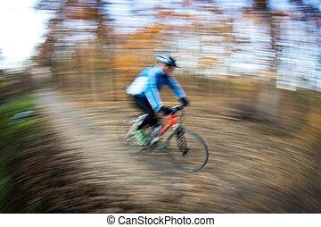 montar a caballo de la bicicleta, en, un, parque de la ciudad, en, un, encantador, autumn/fall