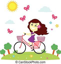 montar a caballo de la bicicleta, niña, gozar