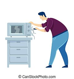 montar, caricatura, ilustración, oven., hogar, character., appliance., color, microwave., tipo, aislado, vector, reparaciones, trabajador, eléctrico, reparación, handyworker, plano, macho, caucásico, hombre, fijación, faceless