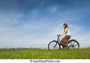 montar una bicicleta