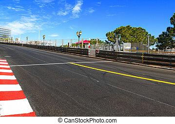 monte, carlo., asfalt, prosty, poświęcać, prix, prąd, objazd...