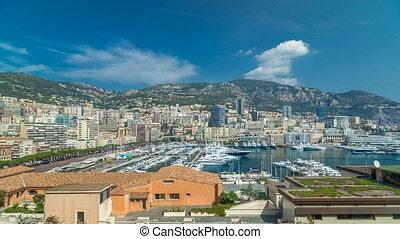 Monte Carlo city aerial panorama timelapse hyperlapse. View...