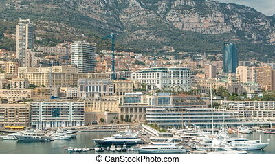 Monte Carlo city aerial panorama timelapse. View of luxury...