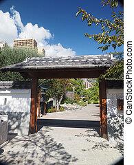 Monte Carlo entrance to Japanese Garden municipal park on the Avenue Princess Grace in Larvotto ward Monaco