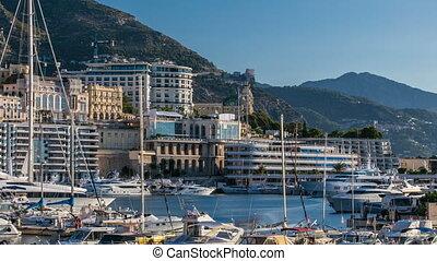 Monte Carlo Port Hercule panorama timelapse. View of luxury...
