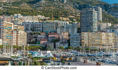 Monte Carlo Port Hercule panorama timelapse. View of luxury...
