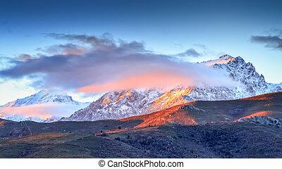Monte Cinto from Col de San Colombano in Corsica - A snow...