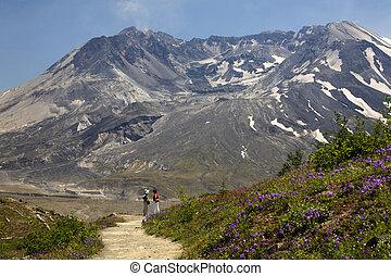 monte, hiking, helens, parque, são, nacional, washington