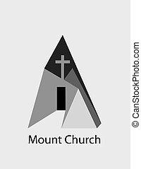 monte, igreja, logotipo