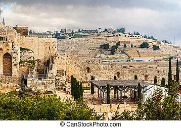 monte, jerusalém, azeitonas