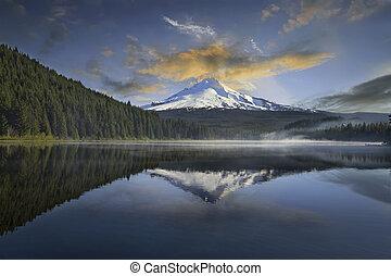 monte, lago, capuz, trillium