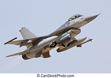 MONTE REAL, PORTUGAL-APRIL 7: F16 Portuguese taking off....