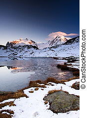 Monte Rosa an Lykamm mountain peak at sunset from Riffelsee