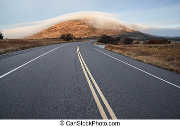 monte, scott, in, nebbia