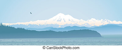 monte, stato, panoramico, panettiere, washington
