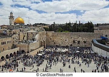 monte, templo, jerusalén, vista