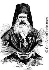 Montenegrin bishop. vintage engraving. - Montenegrin bishop....