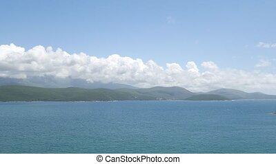 Montenegrin coast, green mountains, blue sky