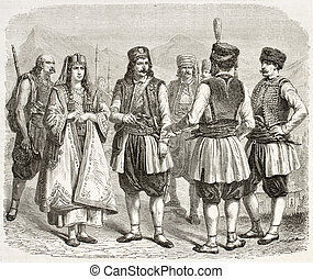 Montenegrin costumes old illustration. Created by Marc and...
