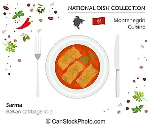 Montenegrin Cuisine. European national dish collection....