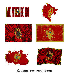 Montenegrin flag collage - Montenegro flag and map in...
